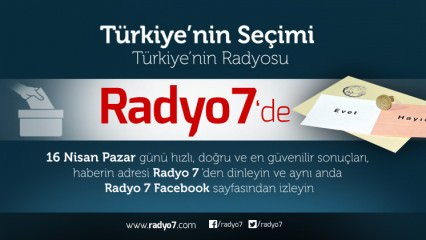 Türkiye'nin Tarih Seçiminde , Türkiye'nin Radyosu Radyo 7, Sizleri Özel Yayınına Davet Ediyor..